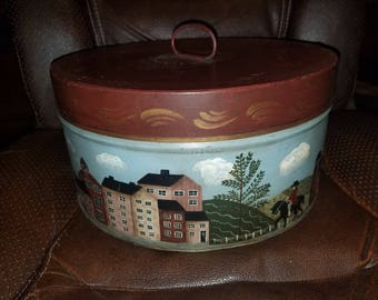 Antique Metal Film Canister Hand Painted Primitive