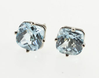 14K Faceted Cushion Cut Blue Topaz Solitaire Earrings White Gold