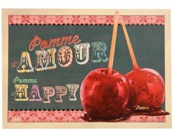 """postcard """"happy Apple pomme d'Amour"""""""