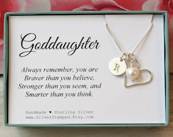 Gift for goddaughter etsy gift for goddaughter necklace sterling silver initial charm necklace unique personalized goddaughters birthday gift god daughter negle Images