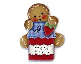 Ginger Loves Strawberry Jam Fridge Magnet or Ornament, Handpainted Wood Gingerbread Refrigerator Magnet, Hand Painted Ginger, Tole Painting