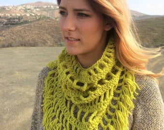 Chartreuse Fringed Cowl