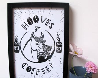 A Coffee Print AND Horse Print! The Ideal Coffee lovers gift and Horse Lovers gift! Coffee Sign and Horse Wall Art Linocut Print Pun Gift