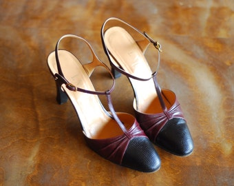 vintage Italian shoes / oxblood and black leather t-strap heels / size 7