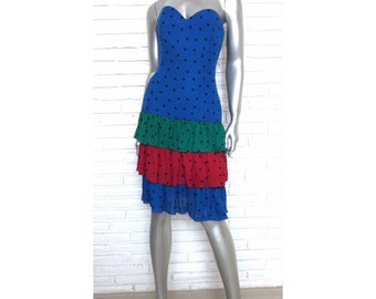 Vintage Strapless Silk Polka Dot Dress by Kathryn Conover for Saks Fifth Avenue 1980's Red Blue Green Dress