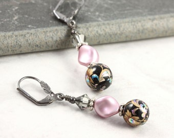 Floral Earrings Dusty Rose Pearl Black Floral Tensha Beads Mauve Romantic Victorian Style