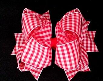 Red Gingham Bow...Red Gingham Hair Bow...Gingham Hair Bow...Gingham Bow...Red and White Gingham