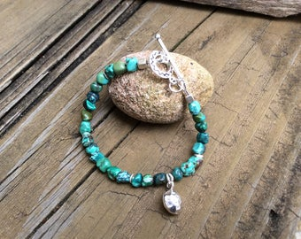 Turquoise Bracelet with Sterling Silver Hammered Charm, Sundance Style Turquoise, Southwestern Bracelet