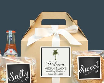 Palm Tree Wedding Welcome Box   Tropical Out of Town Guest Box   Wedding Welcome Bag   Out of Town Guest Bag   Wedding Favor - Vintage Palm