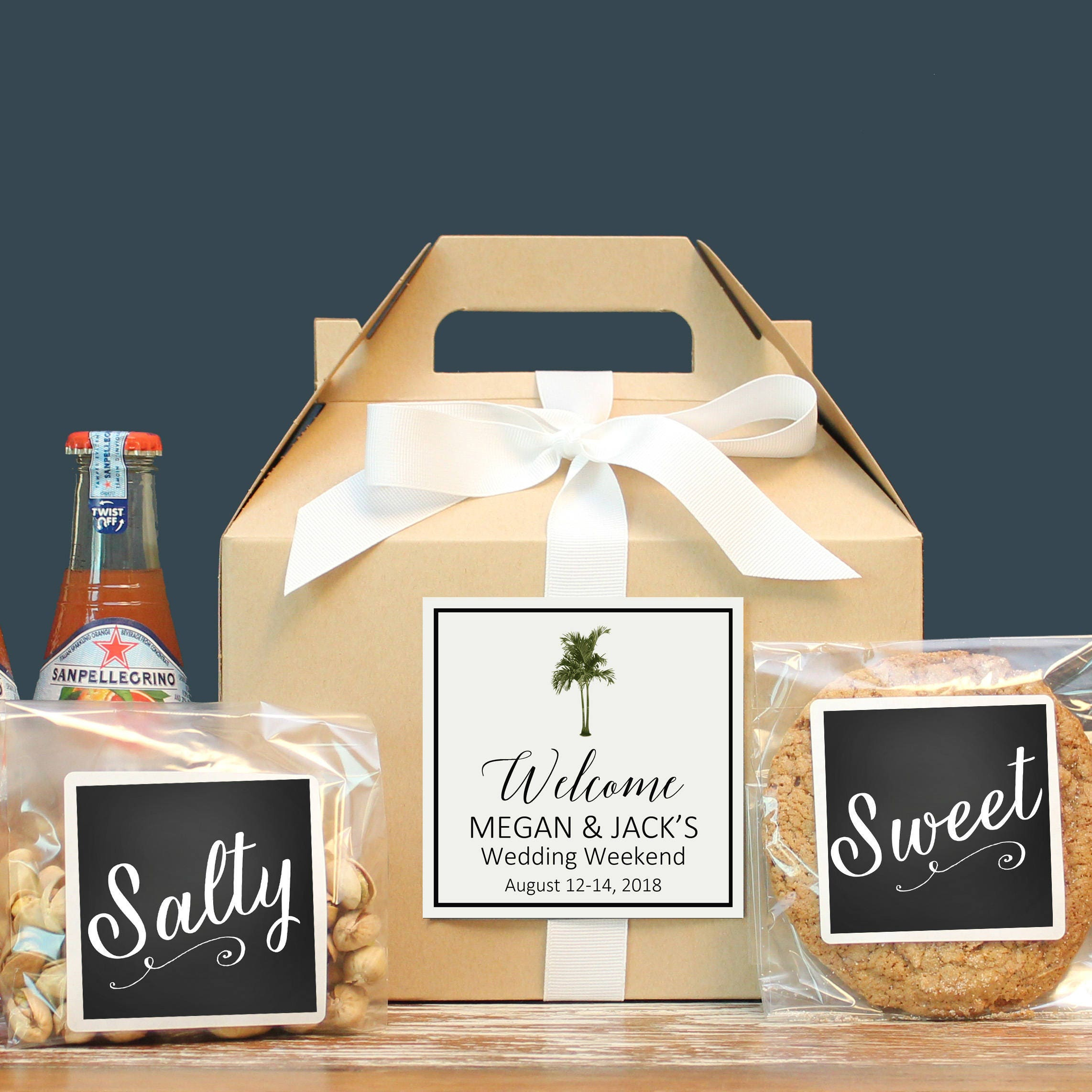 Palm Tree Wedding Welcome Box | Tropical Out of Town Guest Box ...