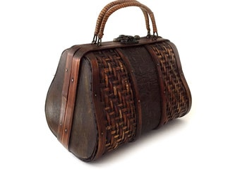 Woven Wood and Bamboo Purse with Woven Rattan and Faux Reptile Insert with Rattan Wrapped Handles and Brass Latch Hardware