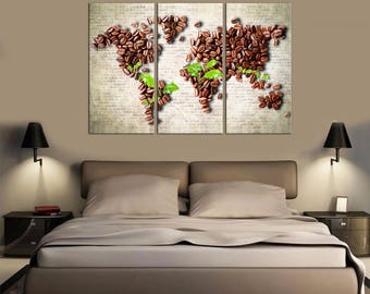 Cofee World map Wall Art Canvas Print Wall decor Canvas wall art Large Canvas Art Home decor World map canvas home canvas World map brown