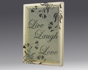 Shabby Chic Earring Holder for Pierced Earrings - Wood Frame Earring Display on Hand Painted Screen. Live-Laugh-Love Design. Great Gift Idea