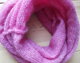 Warm pink mohair snood / scarf