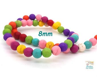 50 PC wood beads Howlite multicolored 8mm (ph208)
