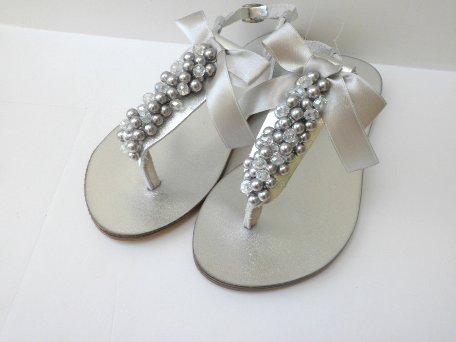 Silver Wedding Sandals Bridal Pealrs Crystal Beads