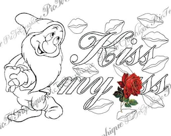 Coloring Page Kiss My Ss From Sweary Colouring Book Vol 1