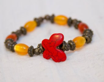 Boho stack bracelet, boho bracelet, bohemian style jewelry, stone bracelet, butterfly bracelet, red and yellow bead, stretch bracelet