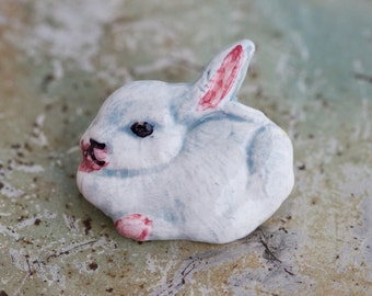 Bunny Lapel Pin - Porcelain Rabbit Brooch - Farm Animal Badge