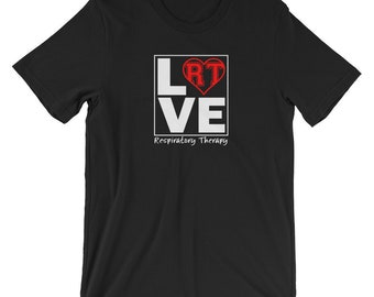 Respiratory Therapy Love RT Red Heart Unisex T-Shirt for RRT Respiratory Therapist Gift
