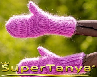 Purple hand knitted mohair mittens handmade by SuperTanya