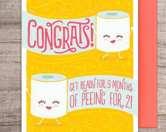 Pregnancy Congrats greeting card - toilet paper, pee, peeing, baby, anthropomorphized, congratulations, funny, humor