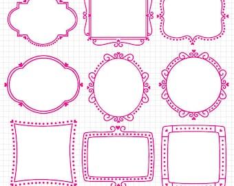 Digital Frames Clipart Digital Download Images Valentine's Day Heart Frames Vectors