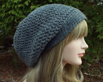 Gray Slouch Beanie, Womens Slouchy Crochet Hat, Oversized Slouchy Beanie, Baggy Beanie, Chunky Hat, Winter Slouchy Hat
