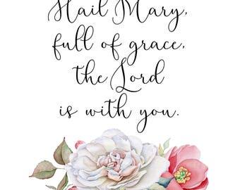 Digital Print- Hail Mary floral