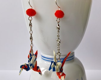 origami birds contemporary patterns blue, red and white washi earrings