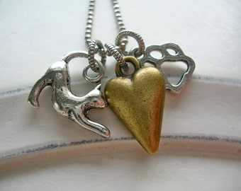 Must Love Cats Paw and Heart Necklace Antiqued Silver Plate, Antiqued Brass, Faceted Bead Chain
