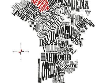 Customizable - Anne Arundel Co Neighborhood Map 11x14 print