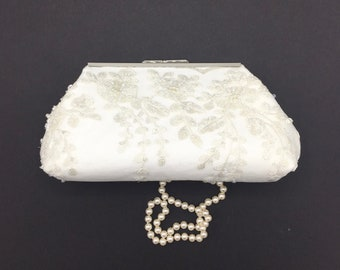 White beaded clutch, ivory clutch, off white clutch,  bride clutch, wedding accessories, shower gift,  one of a kind,