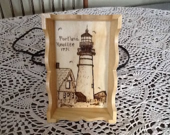 Lighthouse woodburned on small wood tray, wall hanging