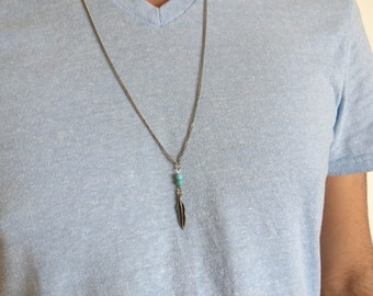 Men's Necklace - Men Feather Necklace - Men Silver Necklace - Men's Gift - Men Jewelry - Men Necklace - Boyfriend Gift - Husband Gift - Guys