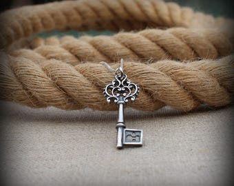 Skeleton key necklace, Sterling silver antique key necklace