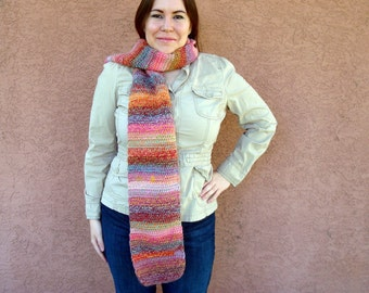 SCARF - Abstract: Wool Blend Multicolor Scarf  for Women - Crochet Scarf - Hoooked Scarves - Multicolor Fashion in Orange, Green, Pink Scarf