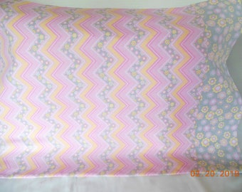 Chevrons and Flowers Pillowcase