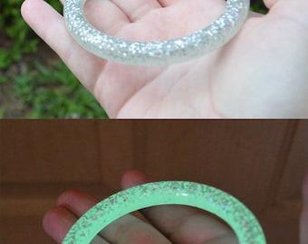 Child's Handmade Silver Glitter Green Glow In The Dark Bangle Bracelet