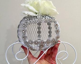 Beautiful Cinderella Carriage Card Holder Money Box Cake Topper or Flower Centerpiece