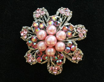 Pin Rhinestone Flower Pin Converts to Pendant Wedding Special Occasion Vintage