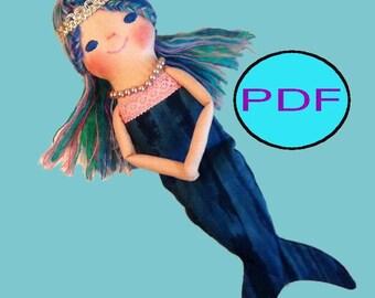 doll pattern doll sewing pattern mermaid doll tutorial toy pattern toy sewing pattern rag doll sewing doll making pattern cloth doll