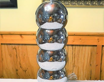 Vintage Chrome Stacked Balls Table Lamp Bubbles Orbs Mod Modern Retro Lighting Mid Century Silver Tone Metal PanchosPorch
