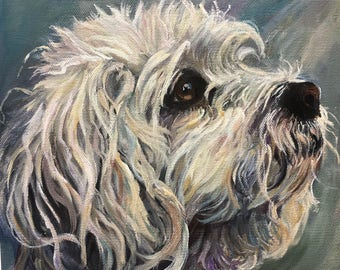Dog Portrait, Custom Pet Portrait hand painted in Canada, Dog Painting