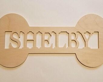 "Dog Bone Name Sign - Unpainted Wood - 18"" size - Home Decor - Pet Decor - Puppy - Wall Hanging - Door Hanger - Kids Rooms - Nursery"