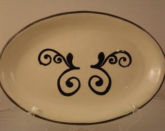 Serving Platter, Black and White