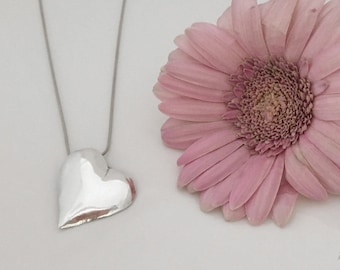 Heart Gifts, Solid Silver Heart Pendant, Fine Silver Heart Jewelry, Heart Necklace Silver, Heart Silver Necklace, Recycled Silver