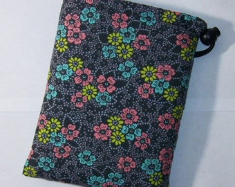 "Pipe Pouch, Floral Pipe Case, Pipe Bag, Flower Bag, Weed Bag, Hippy, Stoner Girl, Padded Pipe Pouch, Ipod Case, Phone Holder - 7"" DRAWSTRING"
