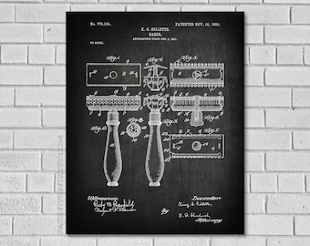 Bathroom Decor - Razor Patent Print - Bath Decor - Bathroom Wall Art - Bathroom Poster - Historic Bathroom picture - Bathroom - Patent HB134