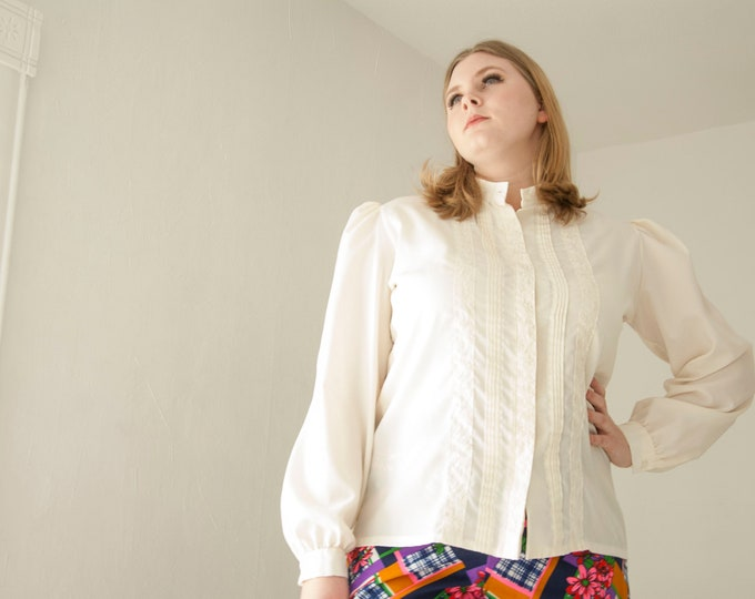 Vintage white blouse, long puffed sleeve shirt top, Victorian inspired formal, embroidered pintuck,  L XL plus size 1970s retro